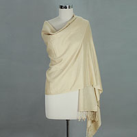 Wool and silk shawl, 'Peach Elegance'