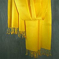 Wool and silk blend shawl, 'Sunlight'