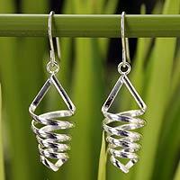 Sterling silver dangle earrings, 'Love Tornado'