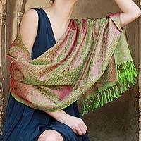Varanasi silk shawl, 'Pretty Pink Paisley'