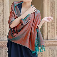 Varanasi silk shawl, 'Ginger Forest'