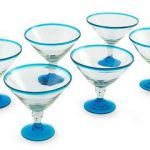 Recycled Glass Clear and Blue Martini Drinkware, 'Azure Joy' (Set of 6)