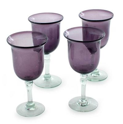Recycled Glass Water Goblets Purple, Amethyst Tulip' (Set of 4)