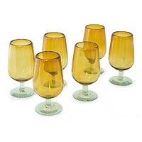 Blown glass goblets, 'Mexican Amber' (set of 6)