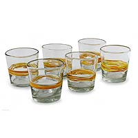 Blown glass rocks glasses, 'Ribbon of Sunshine' (set of 6)