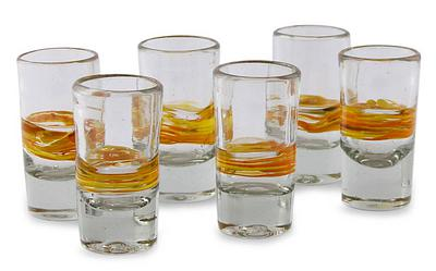Handblown Glass Striped Tequila Shot Drinkware, 'Ribbon of Sunshine' (Set of 6)