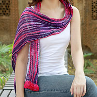 Beaded crinkle silk scarf, 'Amethyst Glory'