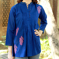 Cotton blouse, 'Bengali Blue'