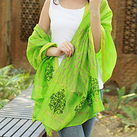 Cotton and silk shawl, 'Lime Garden'