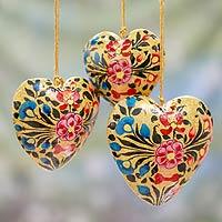 Papier mache ornaments, 'Floral Hearts' (set of 3)
