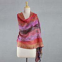 Wool shawl, 'Holi Parade'