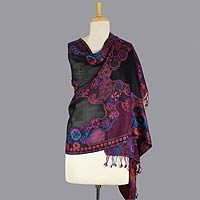 Jamawar wool shawl, 'Purple Extravaganza'