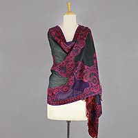 Jamawar wool shawl, 'Crimson Extravaganza'