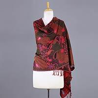 Jamawar wool shawl, 'Modern Delight'