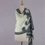 Jamawar wool shawl, 'Floral Waves'