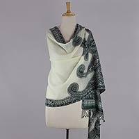 Jamawar wool shawl, 'Floral Waves'