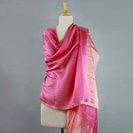 Cotton and silk shawl, 'Rose Radiance'