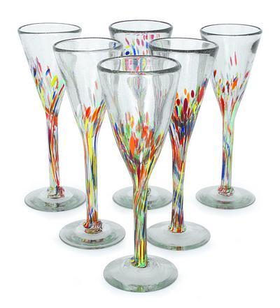 Handblown Glass Cocktail Champagne Flutes, 'Confetti' (Set of 6)