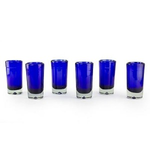 "Hand Blown Mexican Tequila Shot Glasses, 'Pure Cobalt"" (Set of 6)"