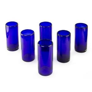 Blue Handblown Glass Cocktail Drinkware, 'Pure Cobalt' (Set of 6)