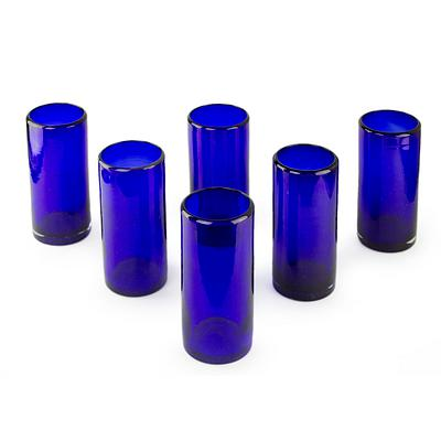 Blue Handblown Glass Cocktail Drinkware, 'Pure Cobalt' (Set of 6)