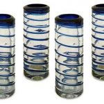Handblown Glass Striped Tequila Shot Drinkware, 'Cobalt Spiral' (Set of 4)