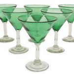 Artisan Crafted Handblown Glass Martini Stemware, 'Vegetation' (Set of 6)