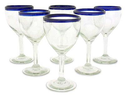 Recycled Wine Drinkware Goblets, 'Blue Cancun' (Set of 6)