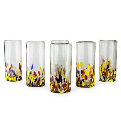 Colorful Handblown Glass Highball Cocktail, 'Confetti' (Set of 6)