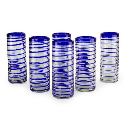 Hand Made Handblown Glass Six Drinking Glasses, 'Cobalt Spiral'