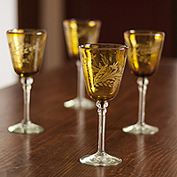 Etched wine glasses, 'Amber Flowers' (set of 4)