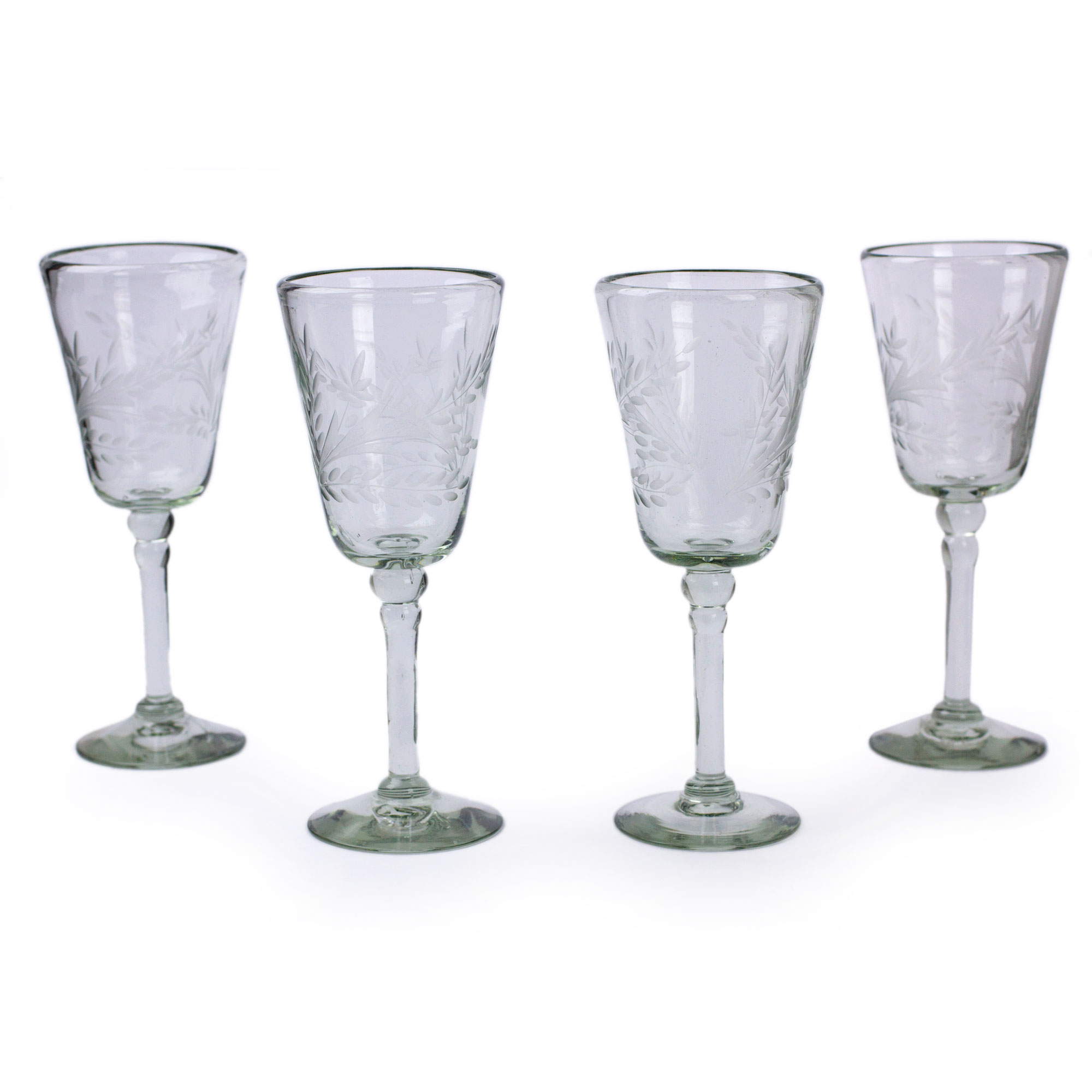 Handcrafted Handblown Glass Etched Wine Glass, 'Crystal Flowers' (Set of 4)