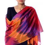 Varanasi silk shawl, 'Rose Whisper'