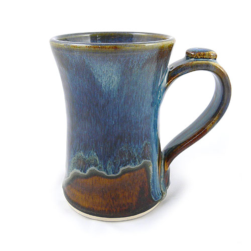 Handmade Stoneware Coffee Mug, 13-oz, Brown/Blue Glaze