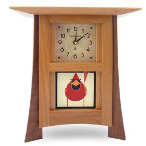 Contemporary Cherry Mantel Clock with Cardinal Tile