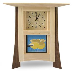 Contemporary Maple Mantel Clock with Grosbeak Trio Tile