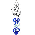 Recycled Glass Bottle Wind Chime with Peace Dove