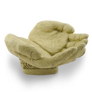 Concrete Open Hands Sculpture / Bird Feeder / Candy Dish