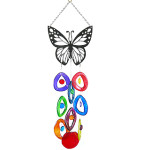 Recycled Glass Bottle Wind Chime with Butterfly