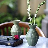 Ceramic vases, 'Frangipani Leaves' (pair)