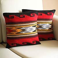 Alpaca cushion covers, 'Red Sea' (pair)