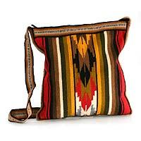 Alpaca shoulder bag, 'Andean Warmth'