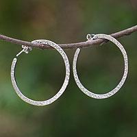 Sterling silver hoop earrings, 'Moon Walk'
