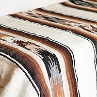 100% alpaca wool blanket, 'Earth Flowers' (twin)
