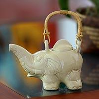 Ceramic teapot, 'Elephant Cream Tea'