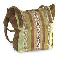 Alpaca shoulder bag, 'Green Fields'