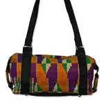 Cotton kente shoulder bag, 'Ashanti Labyrinth'