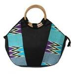Kente tote handbag, 'Ashanti Ocean'