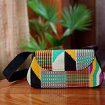 Cotton kente shoulder bag, 'Ashanti Fantasy'