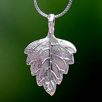Sterling silver pendant necklace, 'Glistening Leaf'
